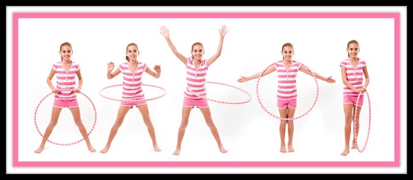 Composite image of amy in fove poses with hula hoop