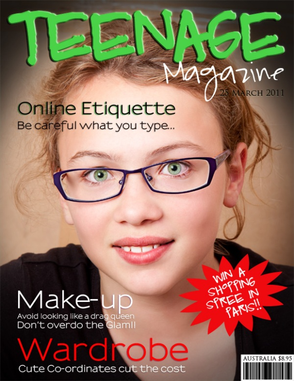 Sophie as a cover girl on TEENAGE magazine
